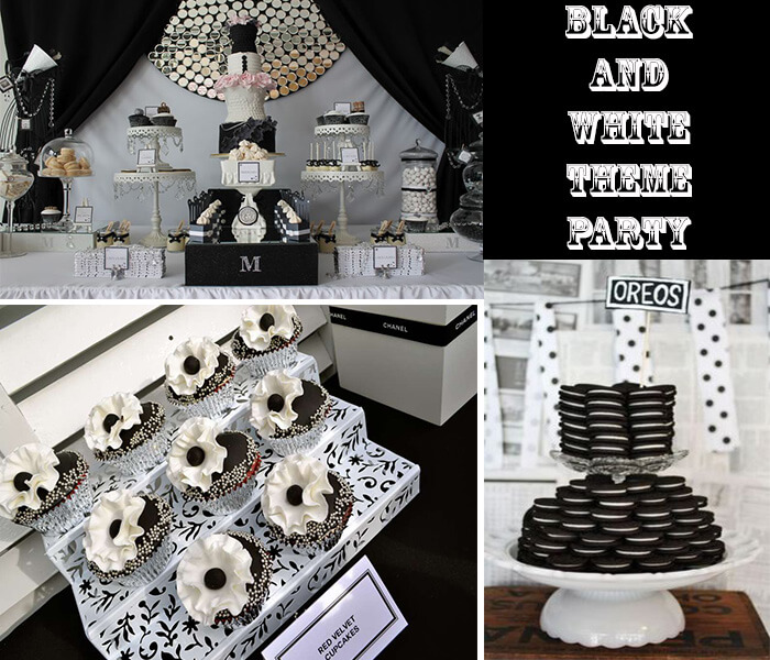 Pics for black and white party theme - Black silver and white party decorations ...