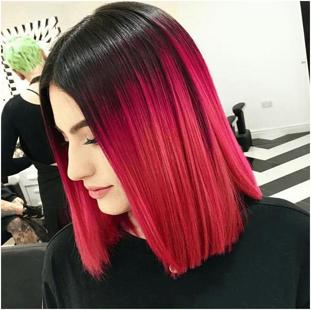 Bright Crimson Ombre Hair