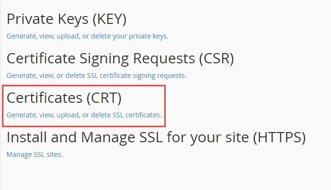 Upload SSL Certificates on Cpanel