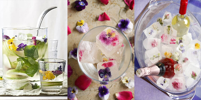 WHITE WINE SPRITZER WITH EDIBLE FLOWERS