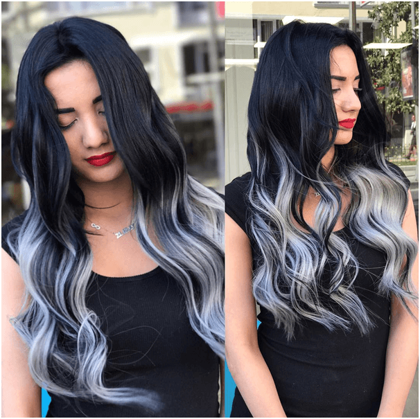 High Contrast Ombre - from Ultra-Black to Silver Blue