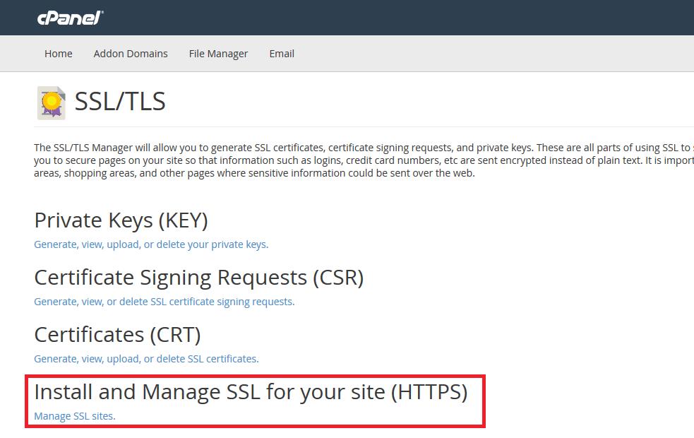 Install Manage SSL