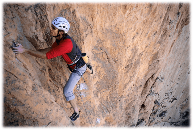 Climbing in the Todra Gorge hills