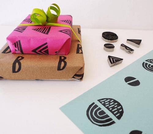 DIY Stamped Gift Wrap