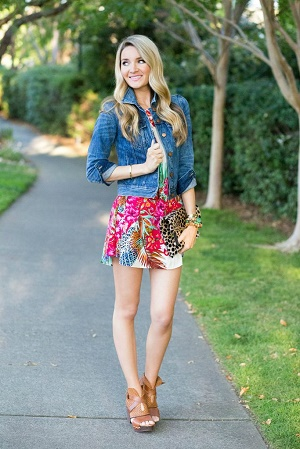 Colorful print summer dress with a denim jacket