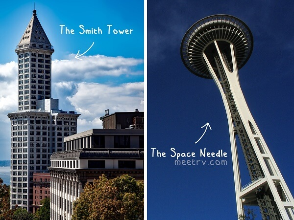 seattle-The Space Needle and Smith Tower