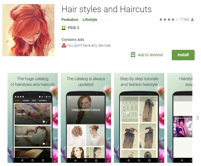 Hair Styles and Haircuts (Android)
