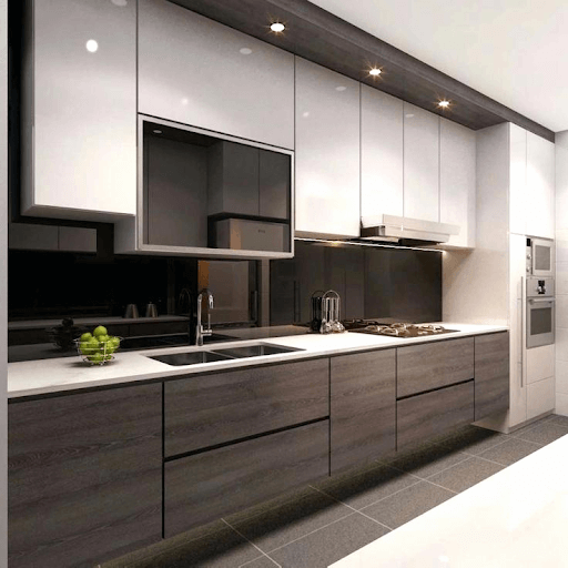 cupboards are smooth, streamlined and Modern