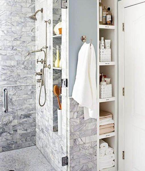 built-in shower cabinets