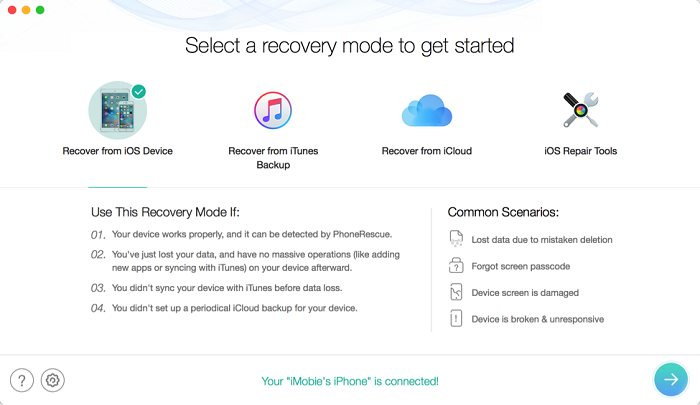 Recover data from an iOS device