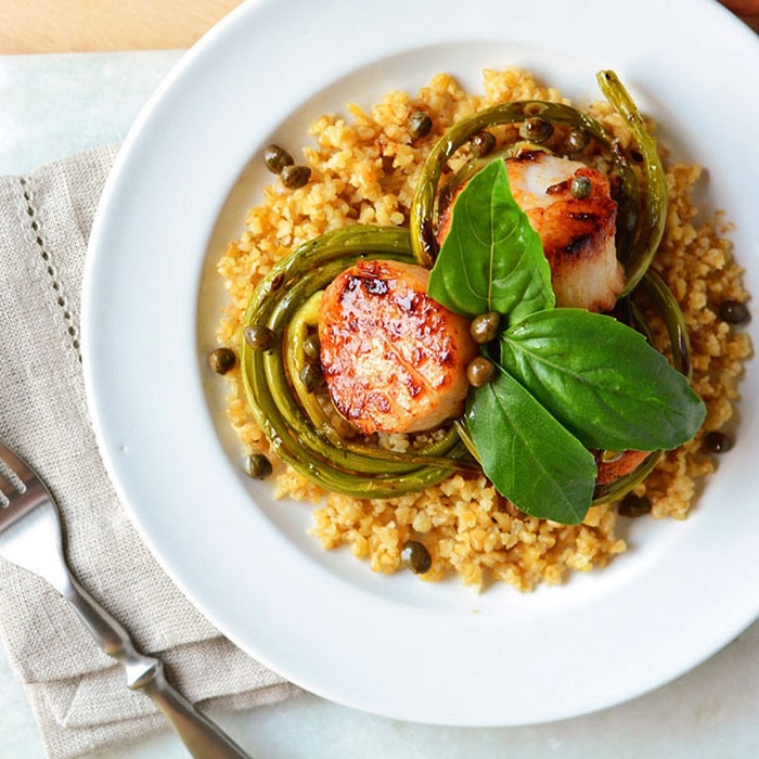 Scallops with pumpkin and couscous