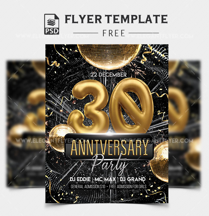 Anniversary Party – Free Flyer PSD Template
