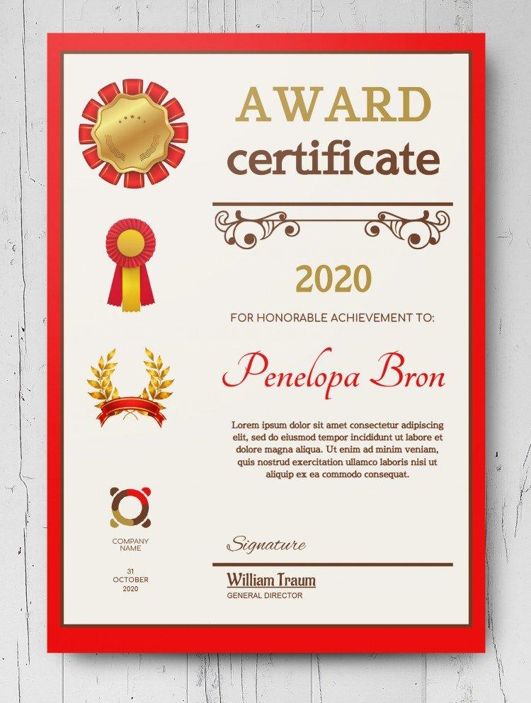 Award Certificate – free Google Docs Template