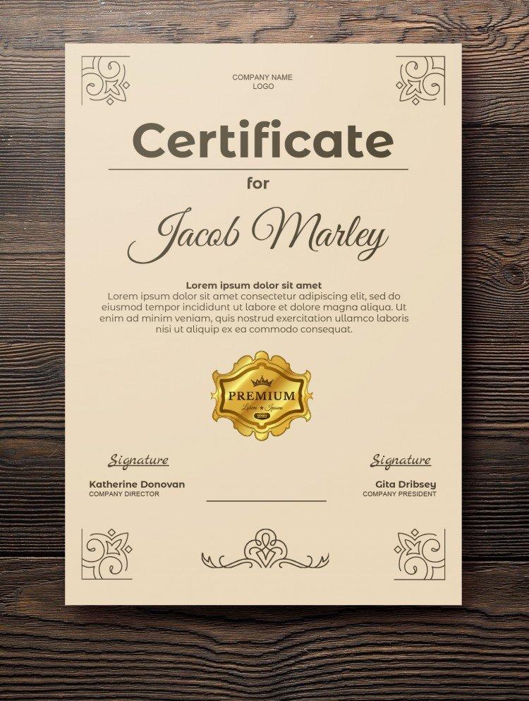 Beige background Certificate – free Google Docs template