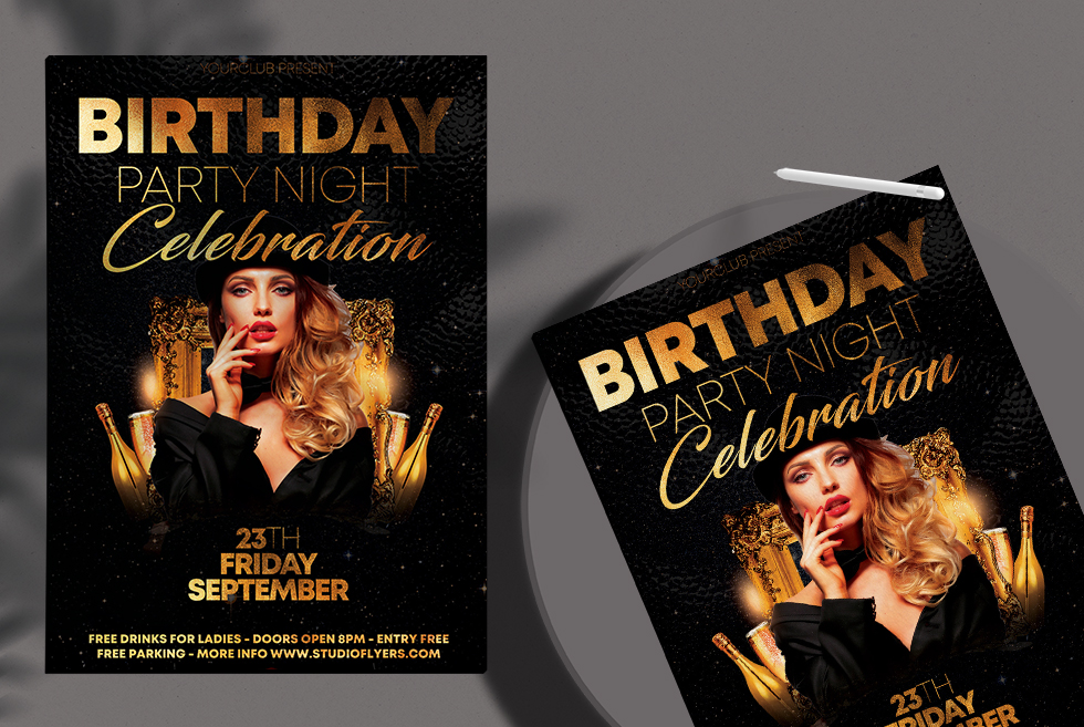 Birthday Party Night Free Flyer Template