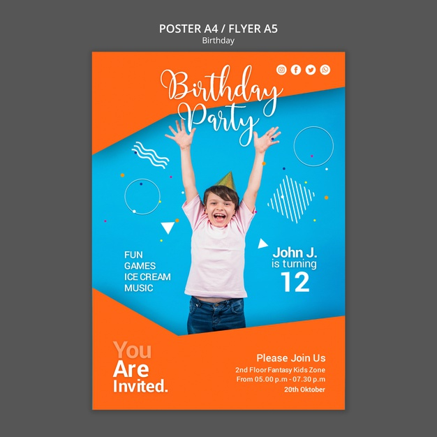 Birthday party flyer template Free Psd