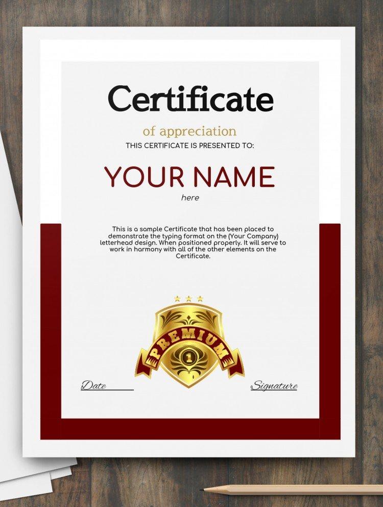 Certificate appreciation – free Google Docs Template