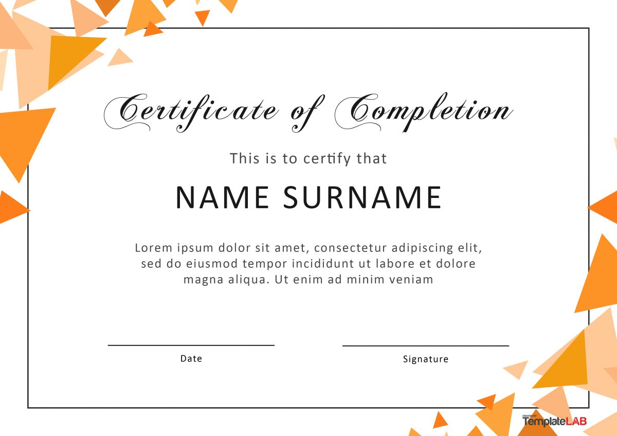 Certificate of Completion for Word