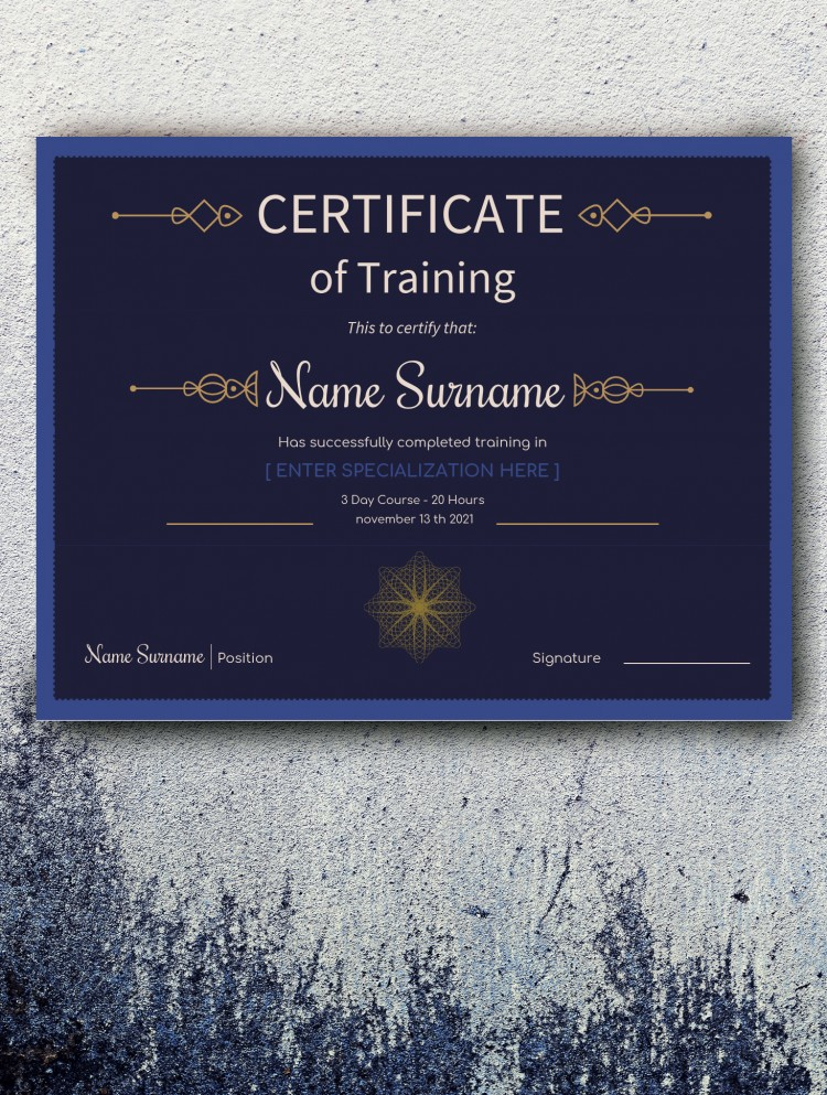 Certificate of Training – free Google Docs Template