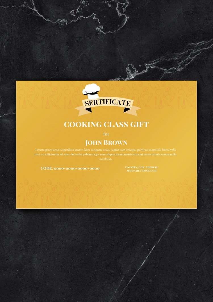 Cooking Class Gift Certificate – free Google Docs Template