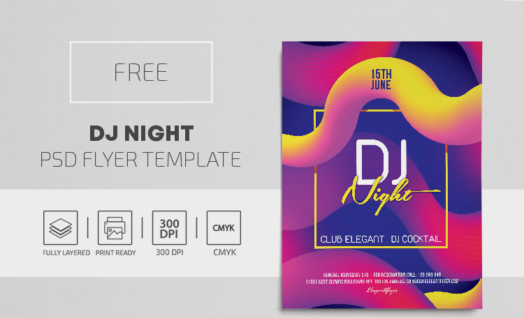 DJ Night – Free PSD Flyer Template