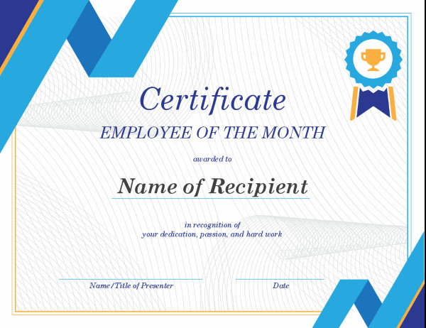Employee of the month template certificate