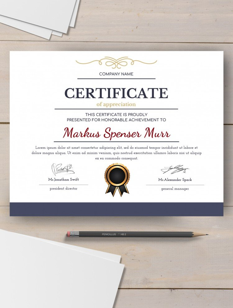 Formal Style Certificate - free Google Docs template
