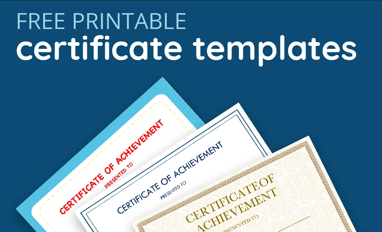 21+ Best Free Certificate Templates in Google Docs and Word Regarding Free Printable Certificate Of Achievement Template