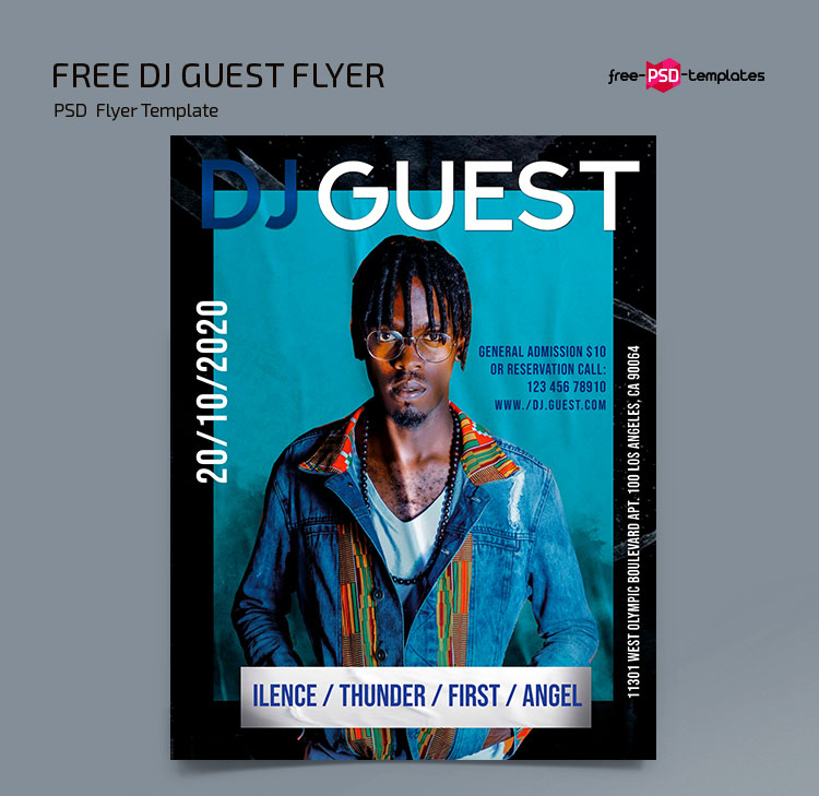 Free Dj Guest Flyer Template in PSD