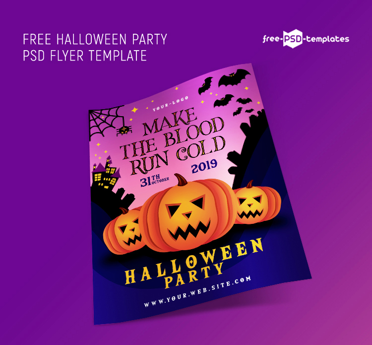 Free Halloween Party Flyer Template in PSD