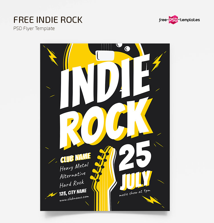 Free Indie Rock Flyer Template in PSD + AI