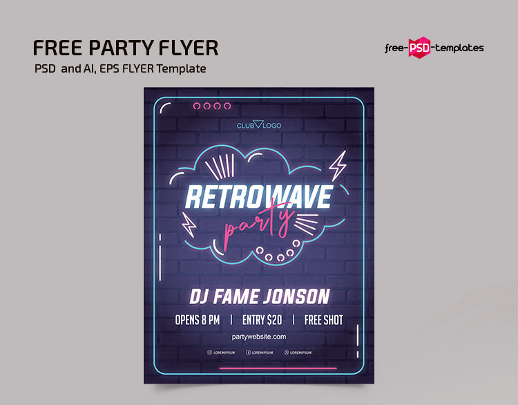 Free Neon Party Flyer in PSD + Vector