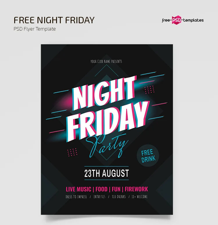 Free Night Friday Flyer Templates in PSD + Vector