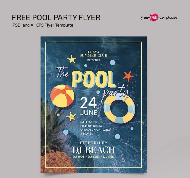 Free Pool Party Flyer Template in PSD + Vector