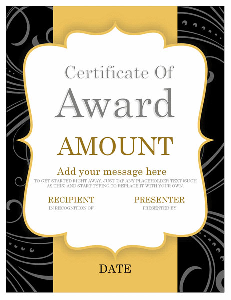 Gift certificate of award template