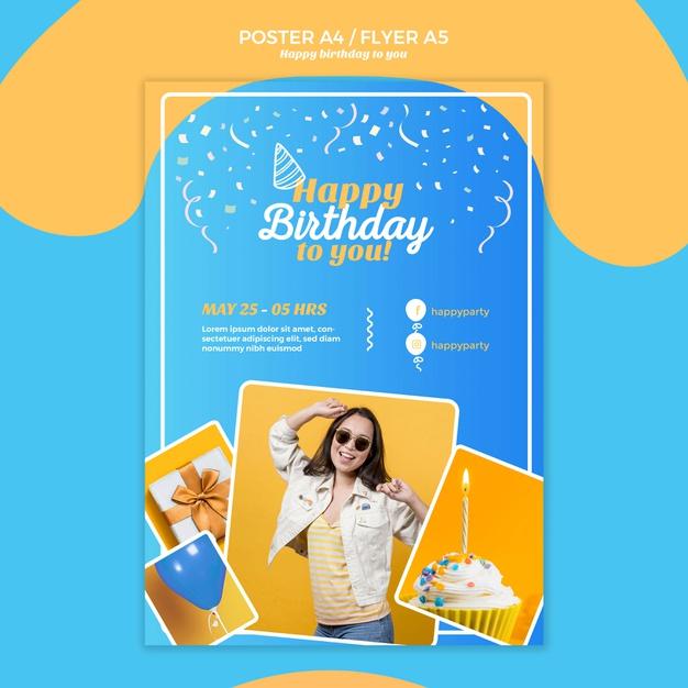 Happy birthday flyer template Free Psd