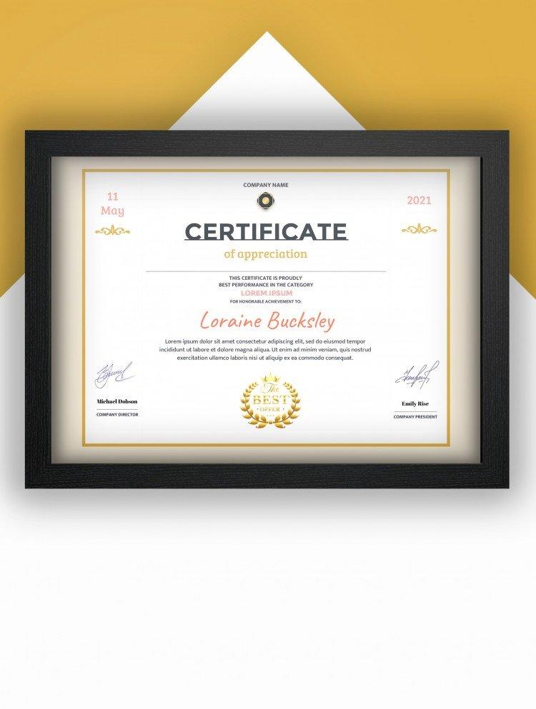 Horizontal Certificate of appreciation – free Google Docs template