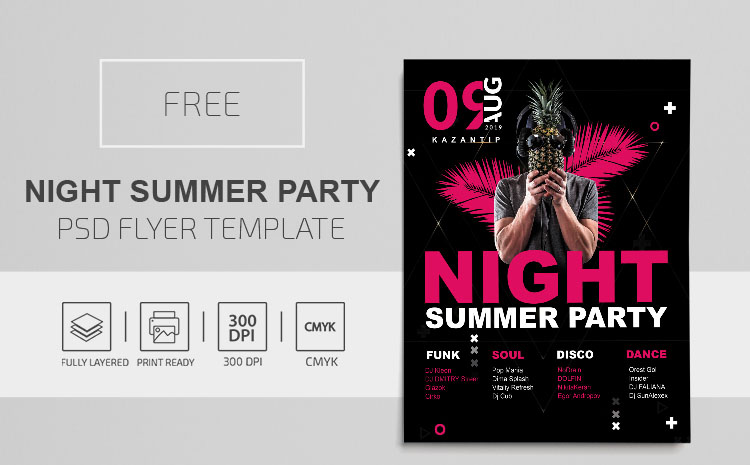 Night Summer Party – Free PSD Flyer Template