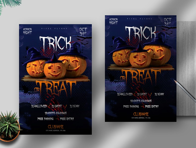 Trick or Treat Halloween Free PSD Flyer Template