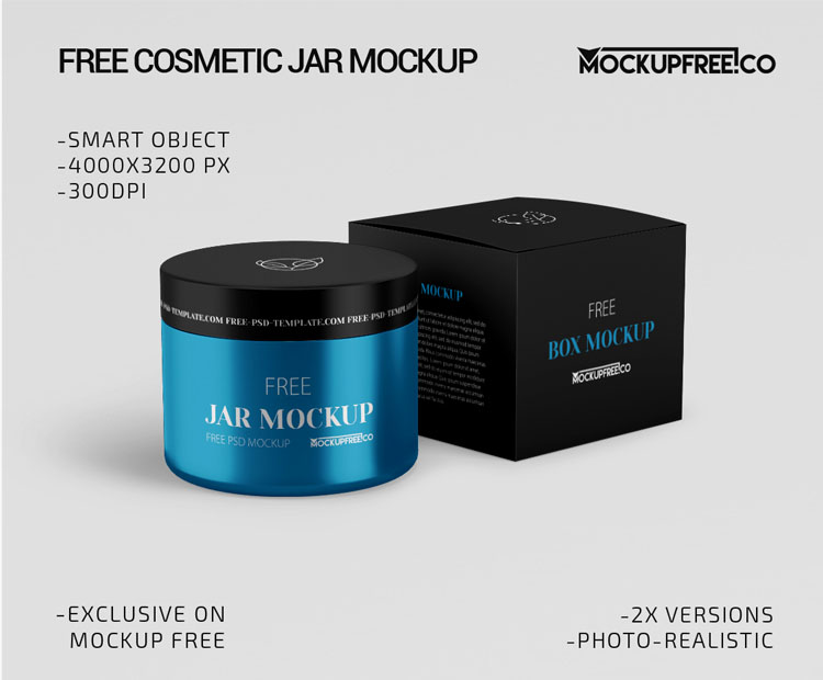Cosmetic Jar – 2 Free PSD Mockups