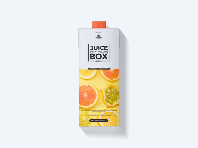 Free Juice Carton Box Mockup