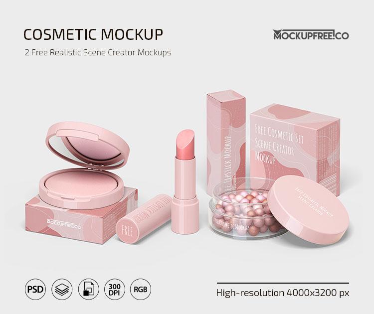 Free PSD Cosmetic Scene Creator Mockup Template