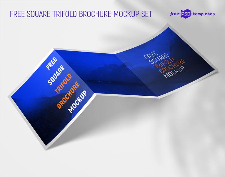 Free Square Tri-fold Brochure Mockup Set