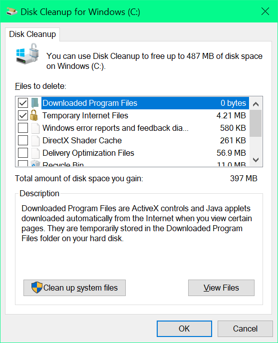 Perform Disk Cleanup